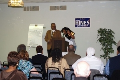Hines presents an award