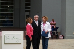 Mayor Tom Henry, Barbara Bradley Baekgaard and Patricia Miller