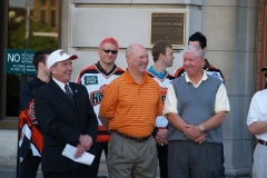 Mayor Tom Henry, Coach Al Sims and Len Thornson