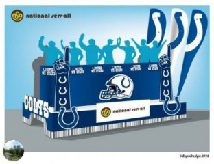 Artist's rendering of the National Serv-All and the Indianapolis Colts float
