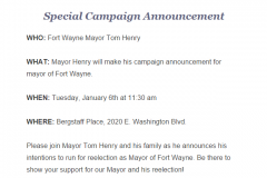 Mayor Tom Henry announcement