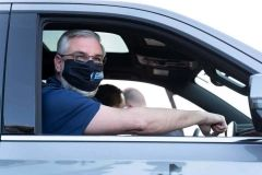 Indiana Governor Eric Holcomb after receiving his COVID-19 vaccination