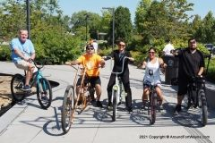 Amy Hartzog with bicyclists