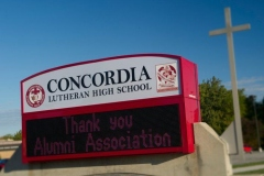 Concordia Lutheran High School sign