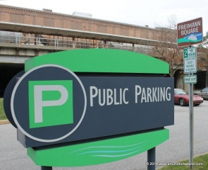 Signage at the Freimann Square parking lot