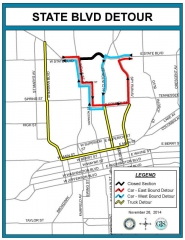 State Blvd. Detour map