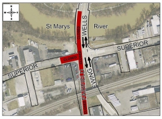 Superior/Wells roundabout traffic redirection