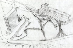 Artist's drawing of riverfront development