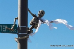 The skeletons are hanging around downtown
