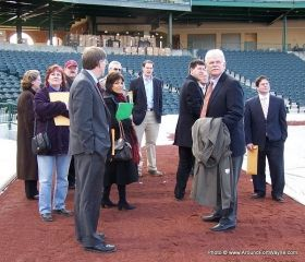 Jim Irwin leads a tour of Parkview Field