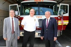 Rusty York, Chief Eric Lahey, and Mayor Tom Henry