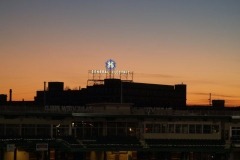 The GE sign at dusk