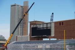 2009/02/17: A section of the video board being lifted into place