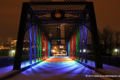 Holiday lights on the historic Wells Street Bridge