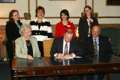 Indiana Governor Mitch Daniels held a ceremonial bill signing