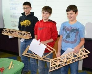 Middle School Bridge Design competition winners