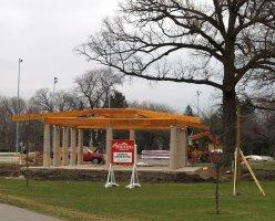 Roof beams in place on the new Japanese Pavilion in Swinney Park West