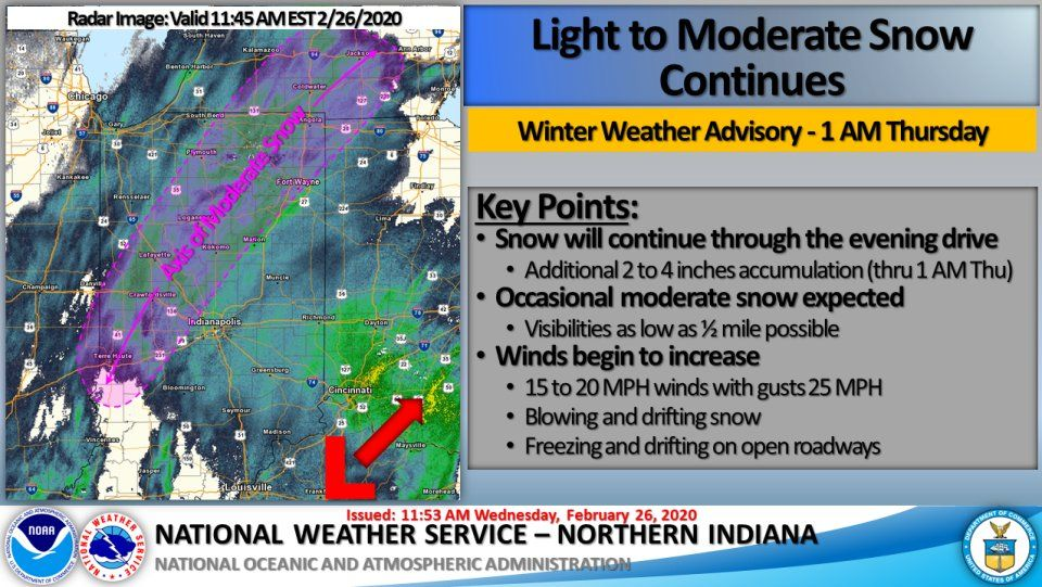 Steady, Light to Moderate Snow Continues