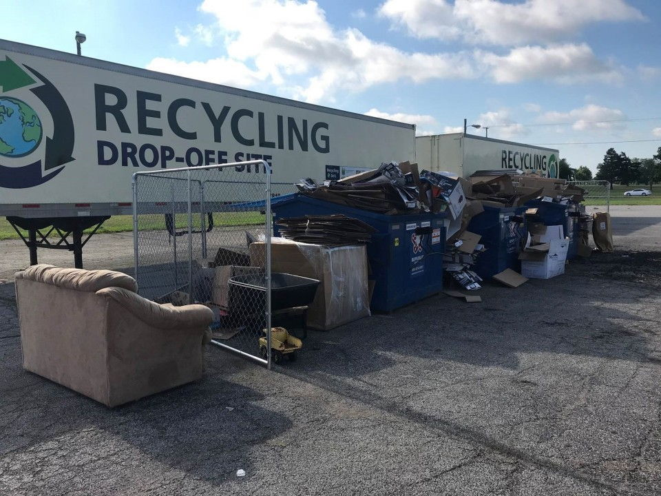 Illegal dumping at a Recycling Drop-Off site