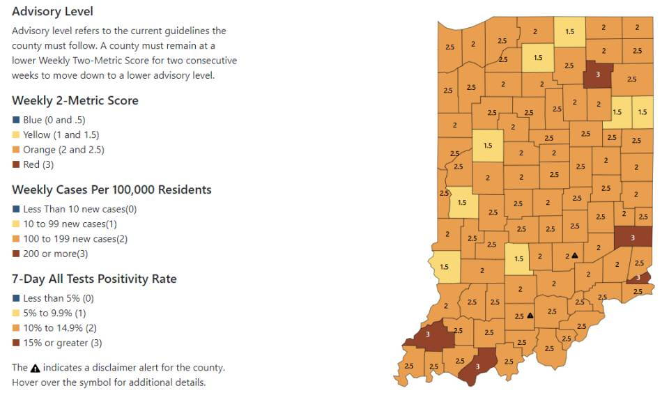 local COVID-19 public health restrictions Allen County Department of Health Indiana status map COVID-19