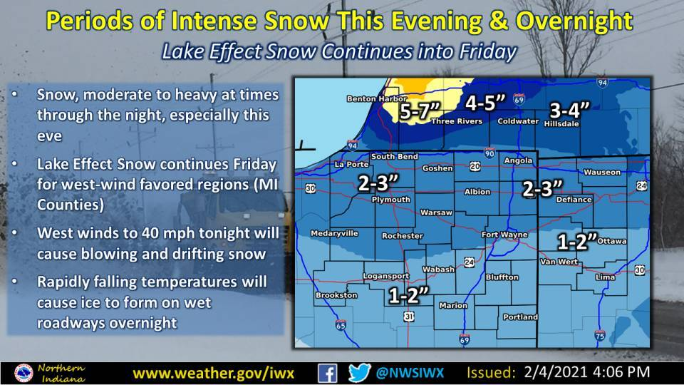 Snow this evening Fort Wayne, Indiana, National Weather Service Northern Indiana, weather story