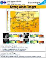 National Weather Service Situation Report for tonight's Wind Advisory.